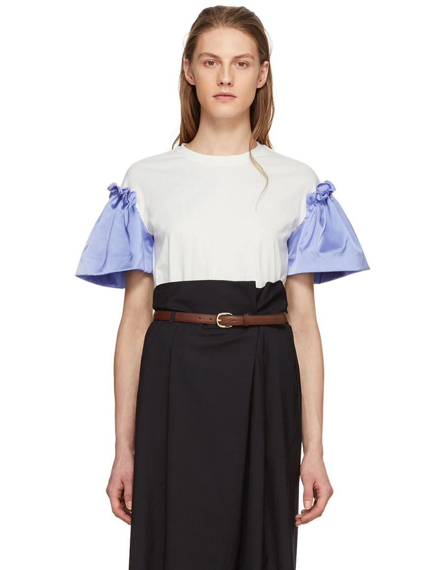 EDIT White & Blue Satin Frill Sleeve T Shirt
