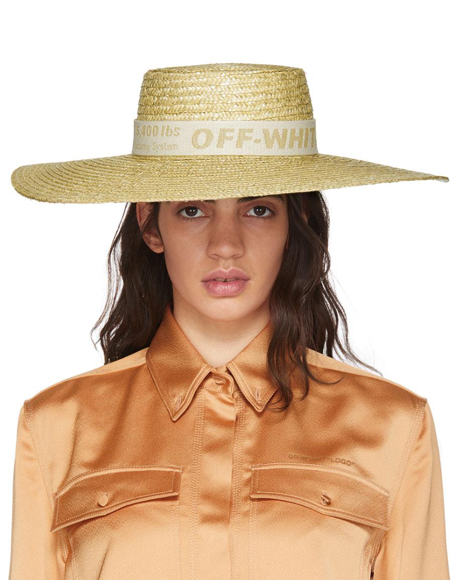 OFF WHITE Beige Straw Hat