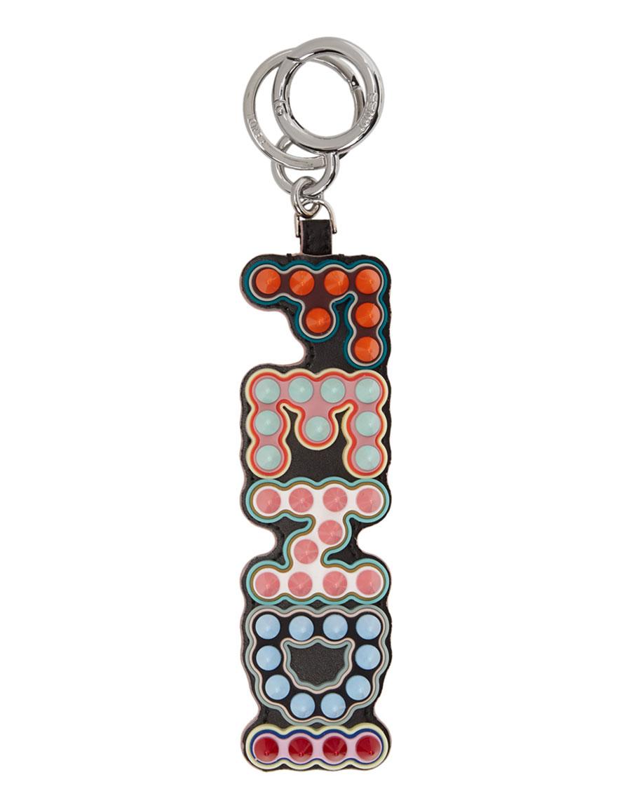 FENDI Black Logo Charm Keychain
