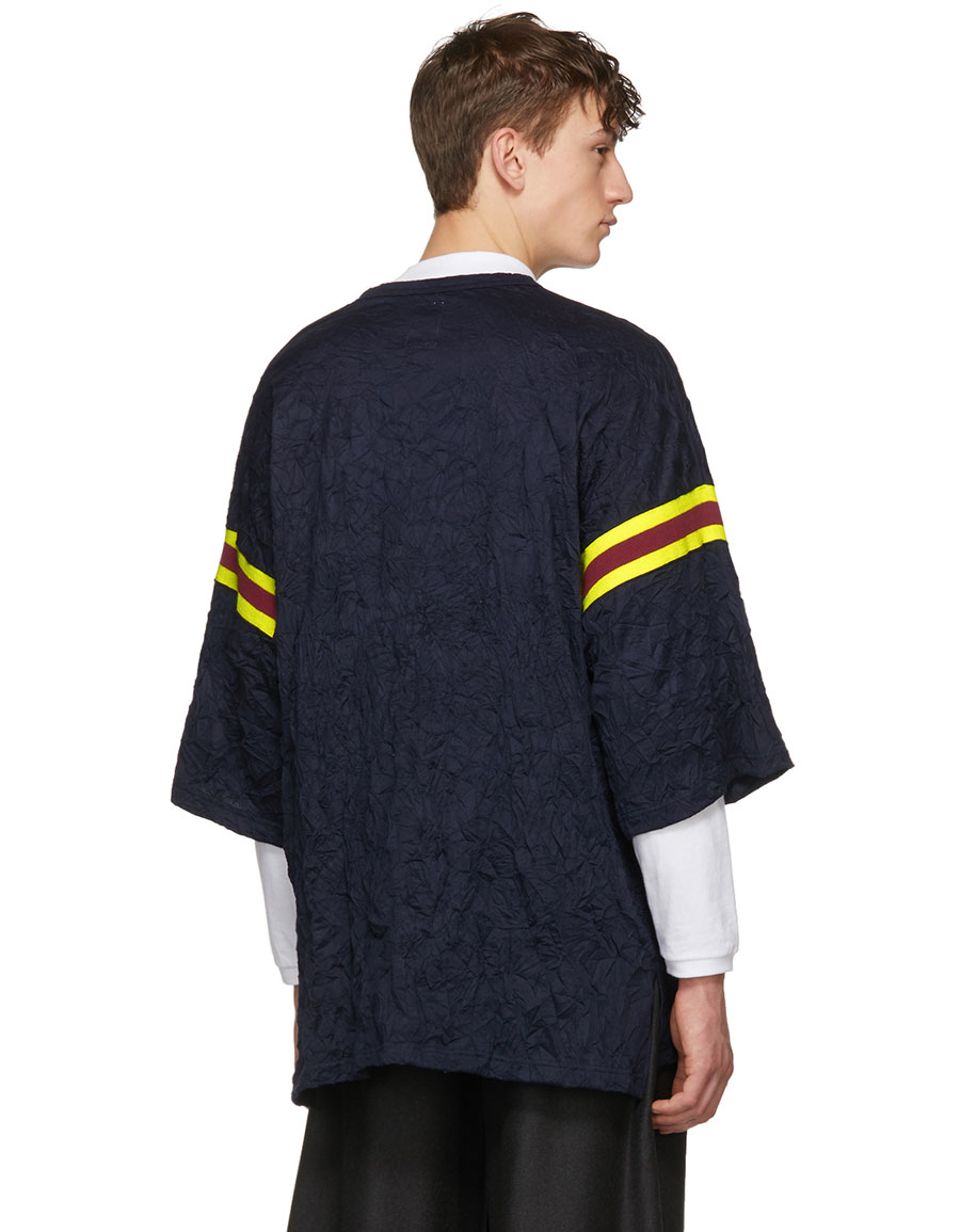 NAME. Navy Oversized Three Stripe T Shirt