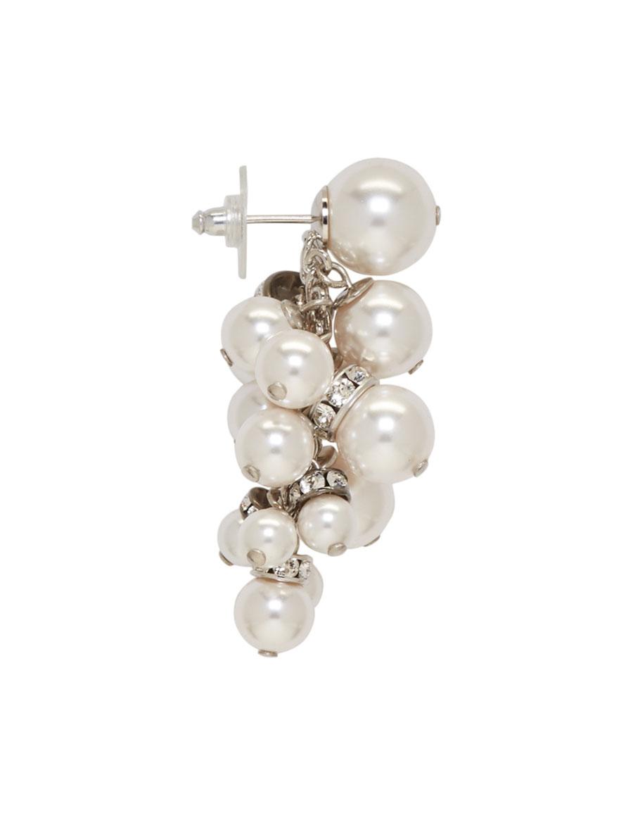 LANVIN White Pearl Drop Earrings