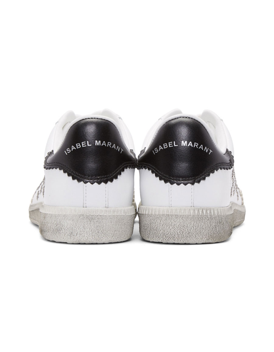 ISABEL MARANT White Bryce Eyelet Studded Sneakers
