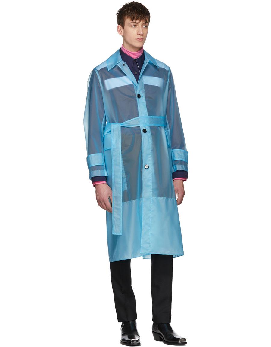 CALVIN KLEIN Blue Long Plastic Coat
