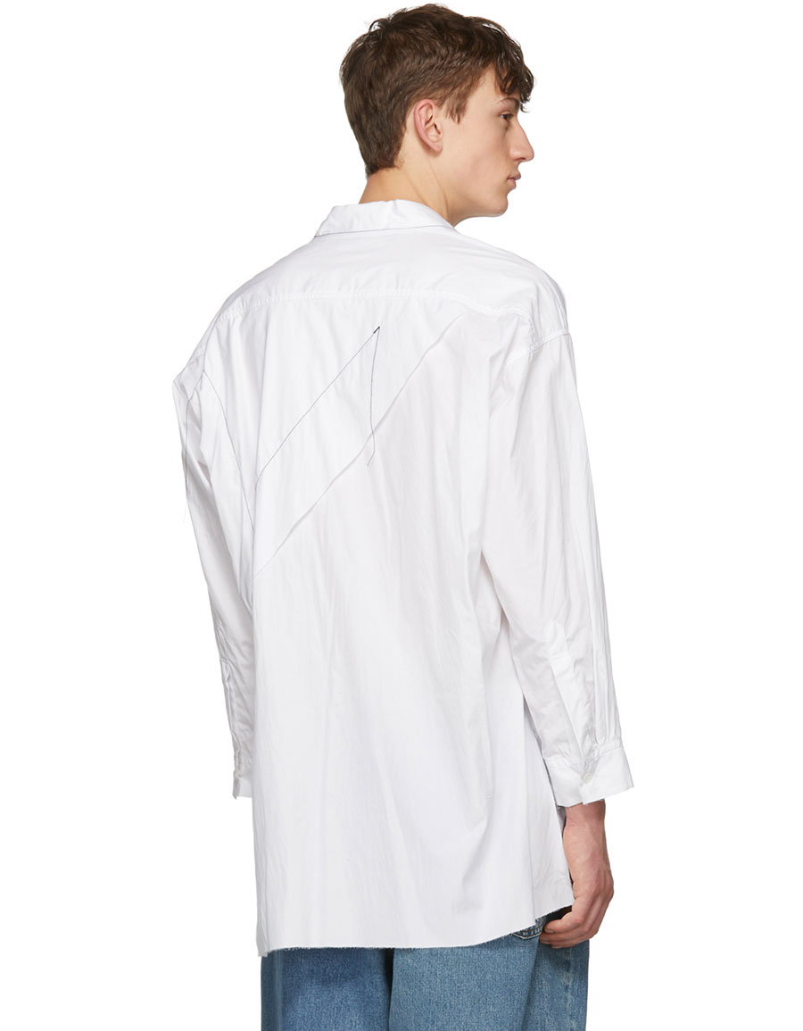 SULVAM White Patchwork Stitching Shirt
