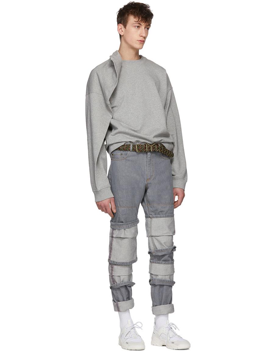 Y/PROJECT Grey Triple Cuff Jeans