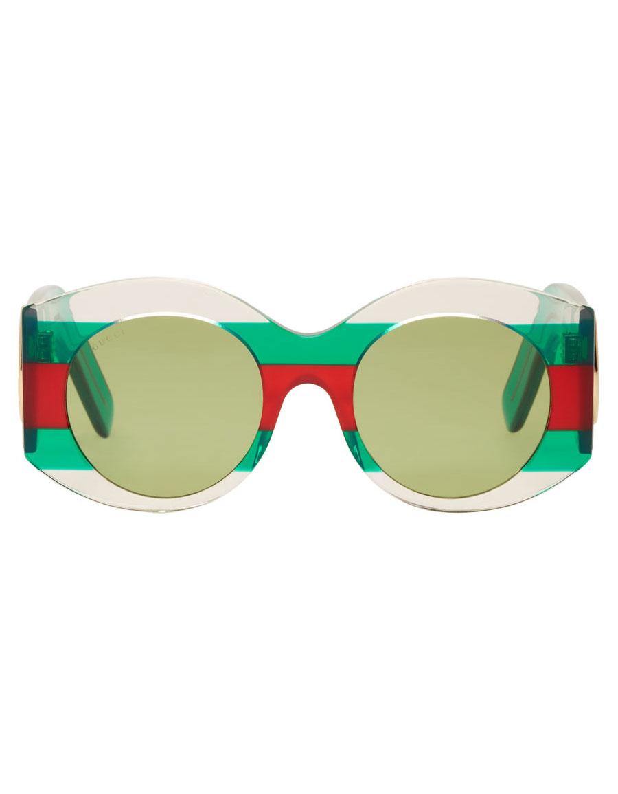 084fd21e84 GUCCI Green   Red Round Web Sunglasses · VERGLE