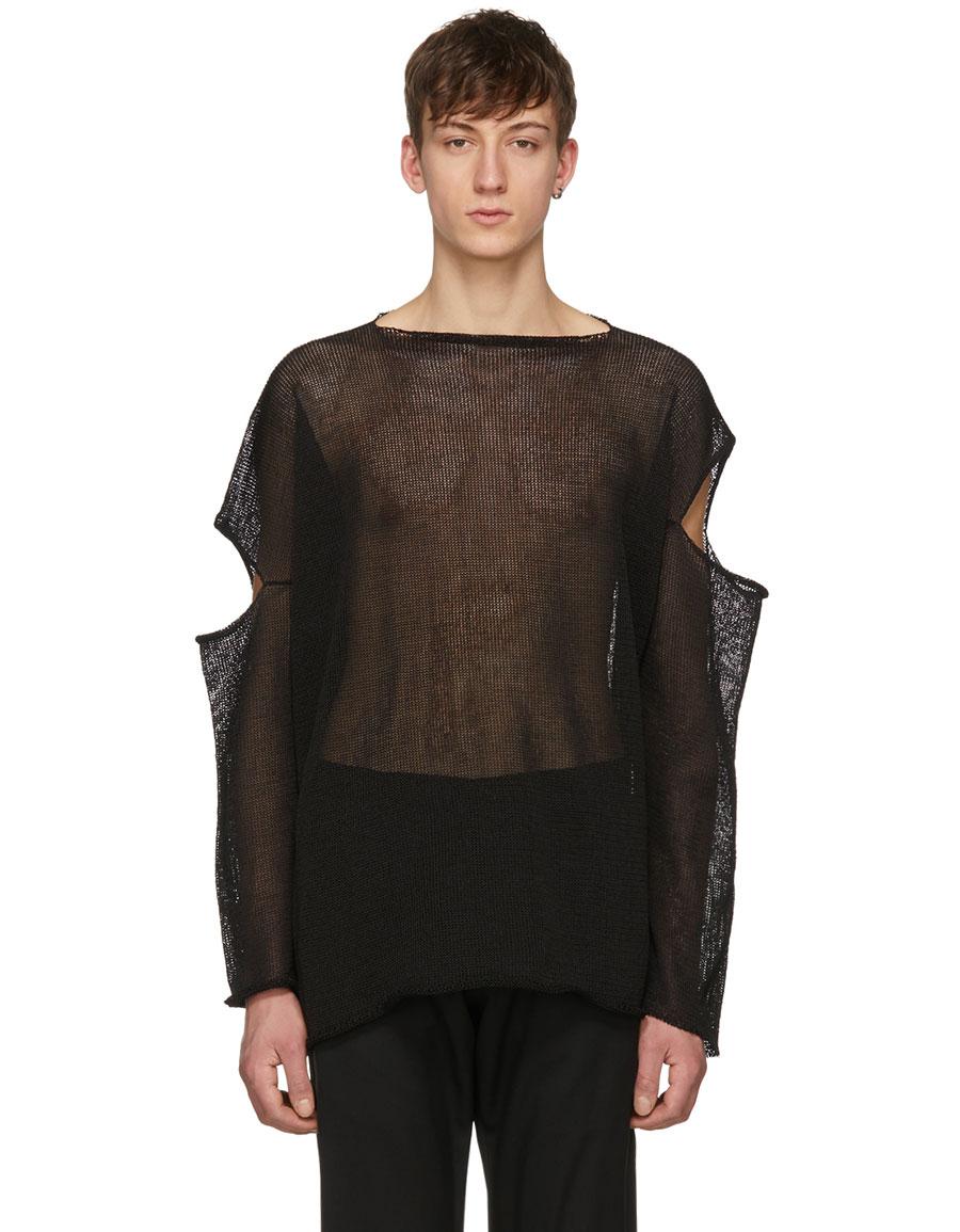 SULVAM Black Slash Sleeves Pullover