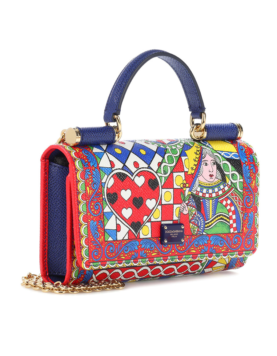 DOLCE & GABBANA Queen of Hearts leather crossbody clutch