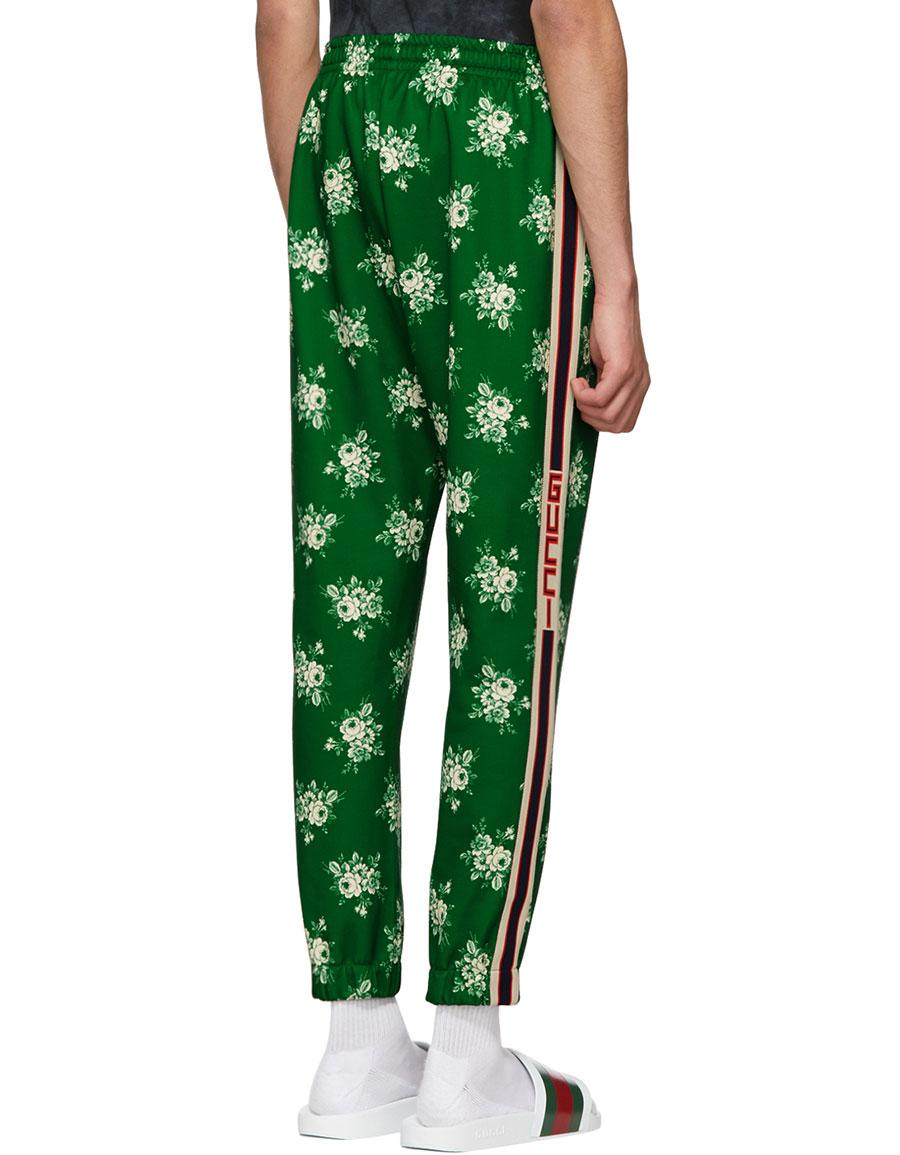 GUCCI Green Floral Logo Lounge Pants
