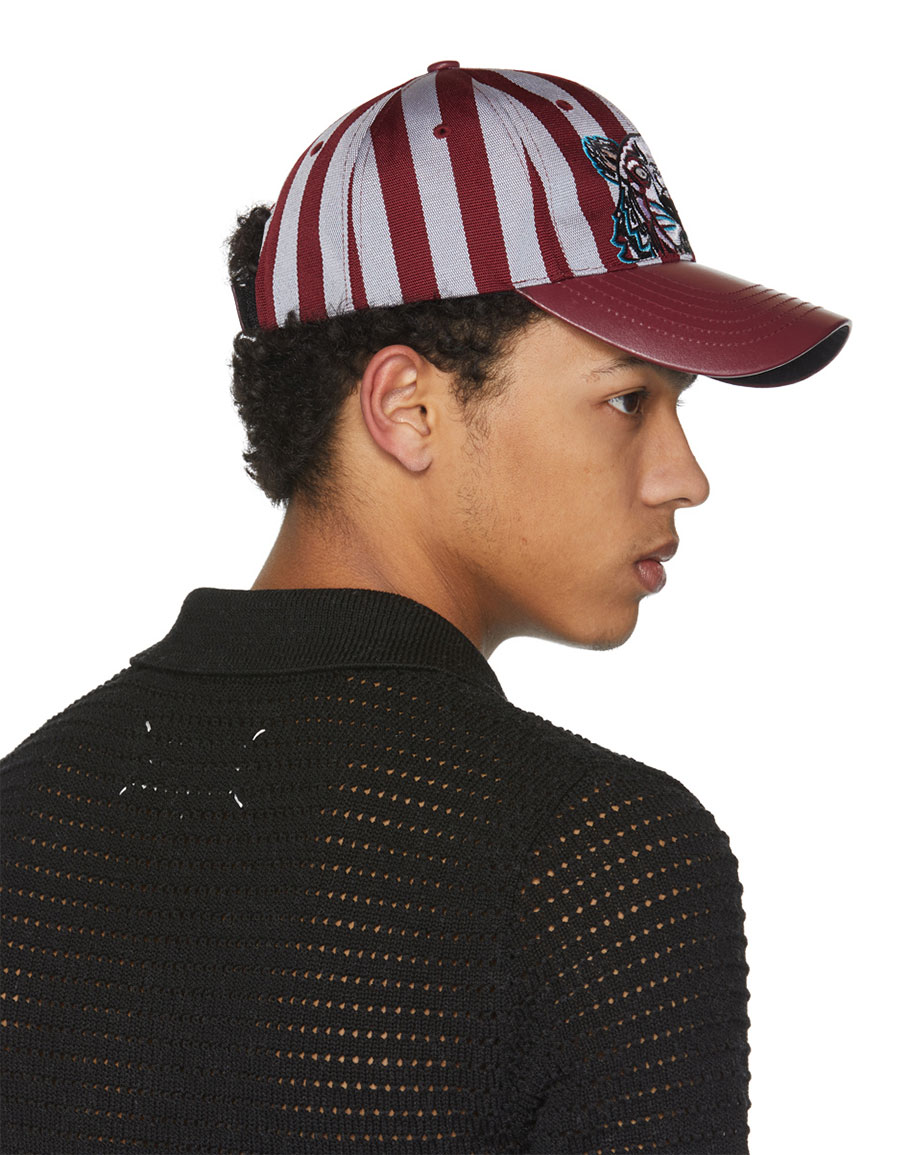 KENZO Burgundy Striped Canvas & Leather Tiger Cap