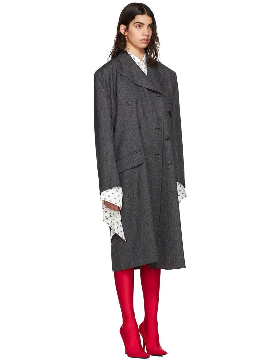 BALENCIAGA Grey Wool Pulled Opera Coat