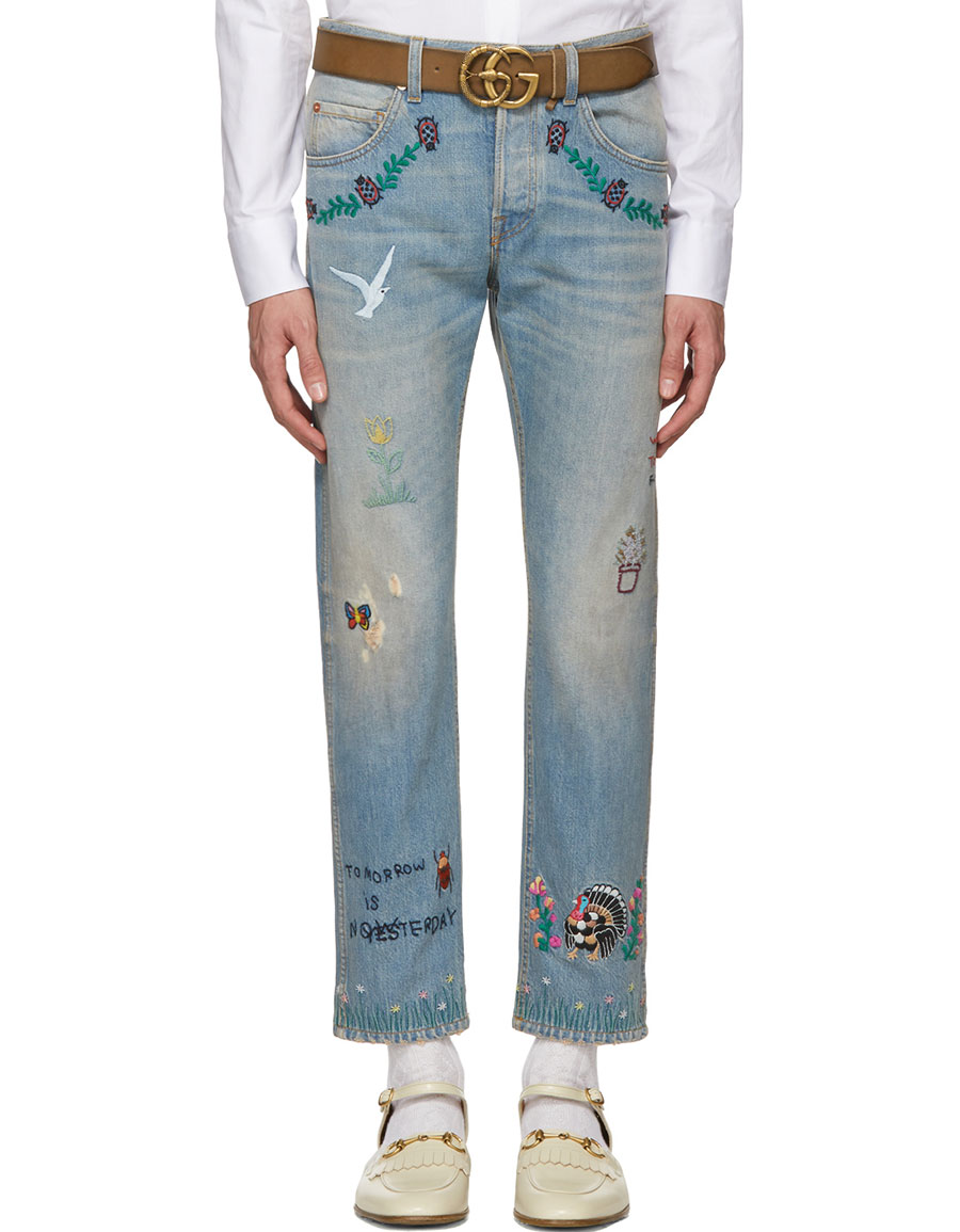 GUCCI Blue Tapered Writing Jeans