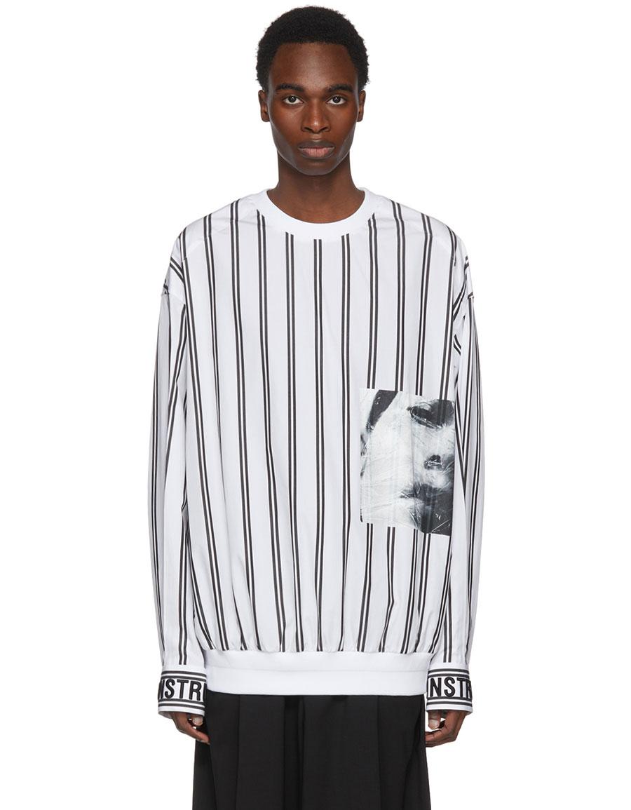 JUUN.J White & Black Striped Poplin Pullover