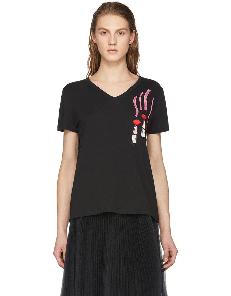 VALENTINO Black Lipsticks & Lips T Shirt