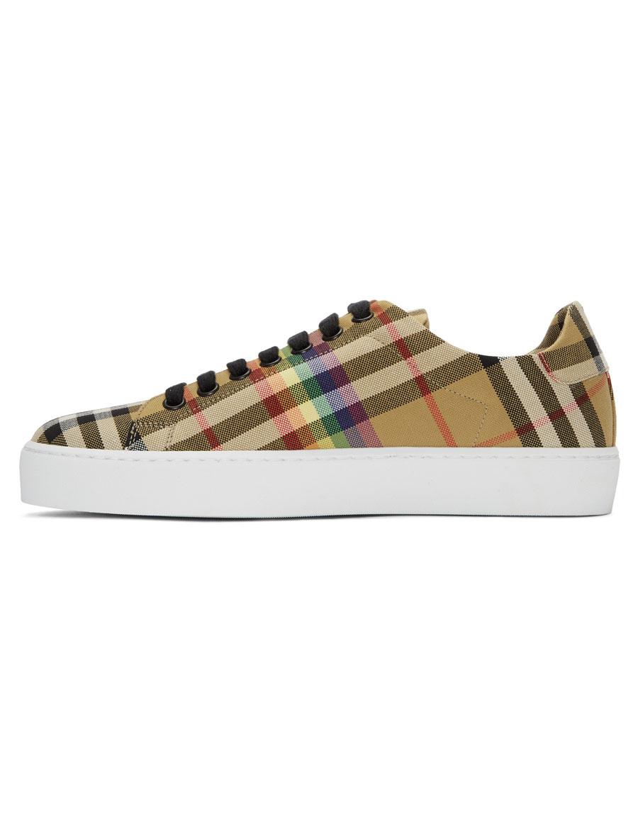 BURBERRY Yellow Check Rainbow Sneakers