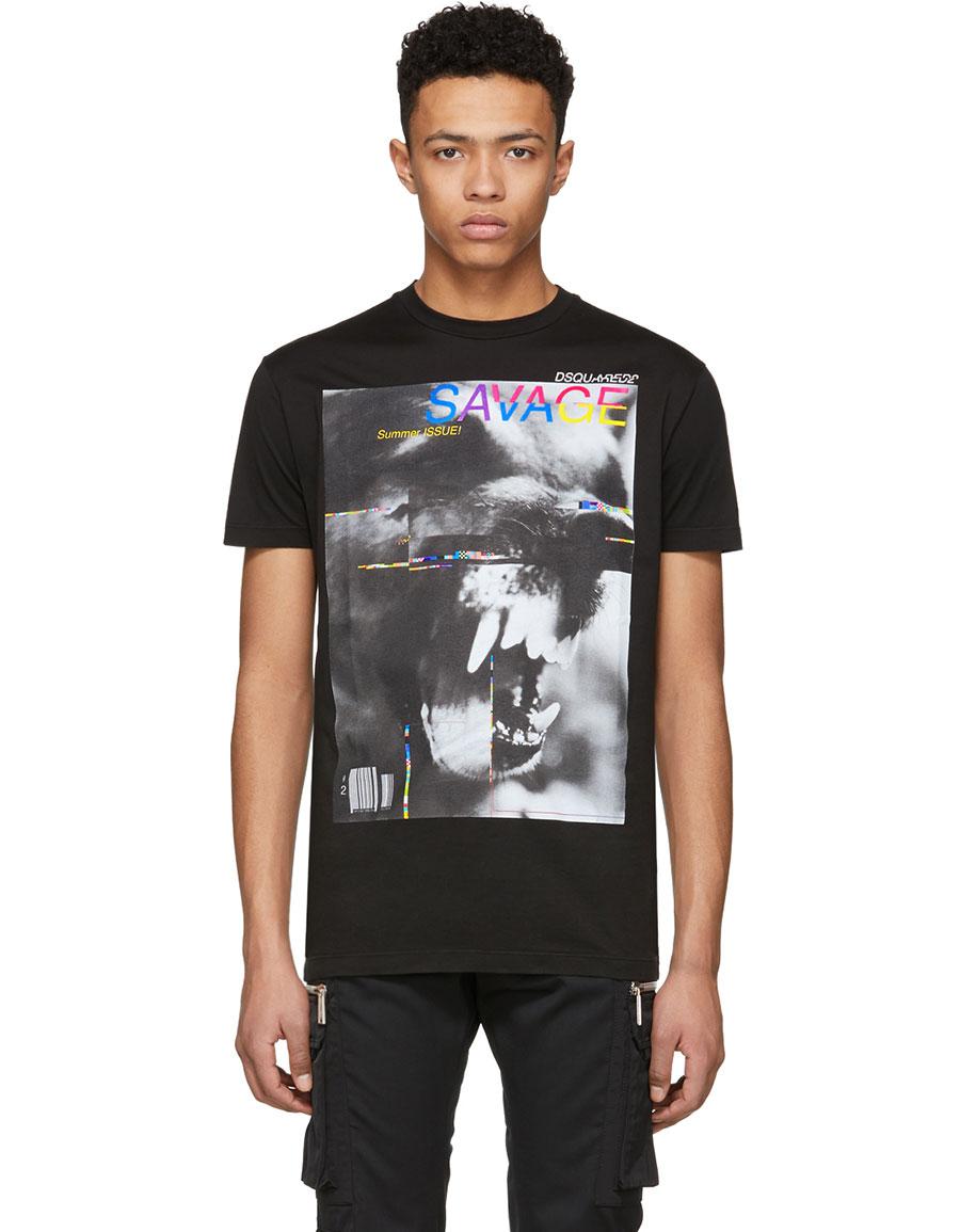 DSQUARED2 Black 'Savage' Long Cool T Shirt