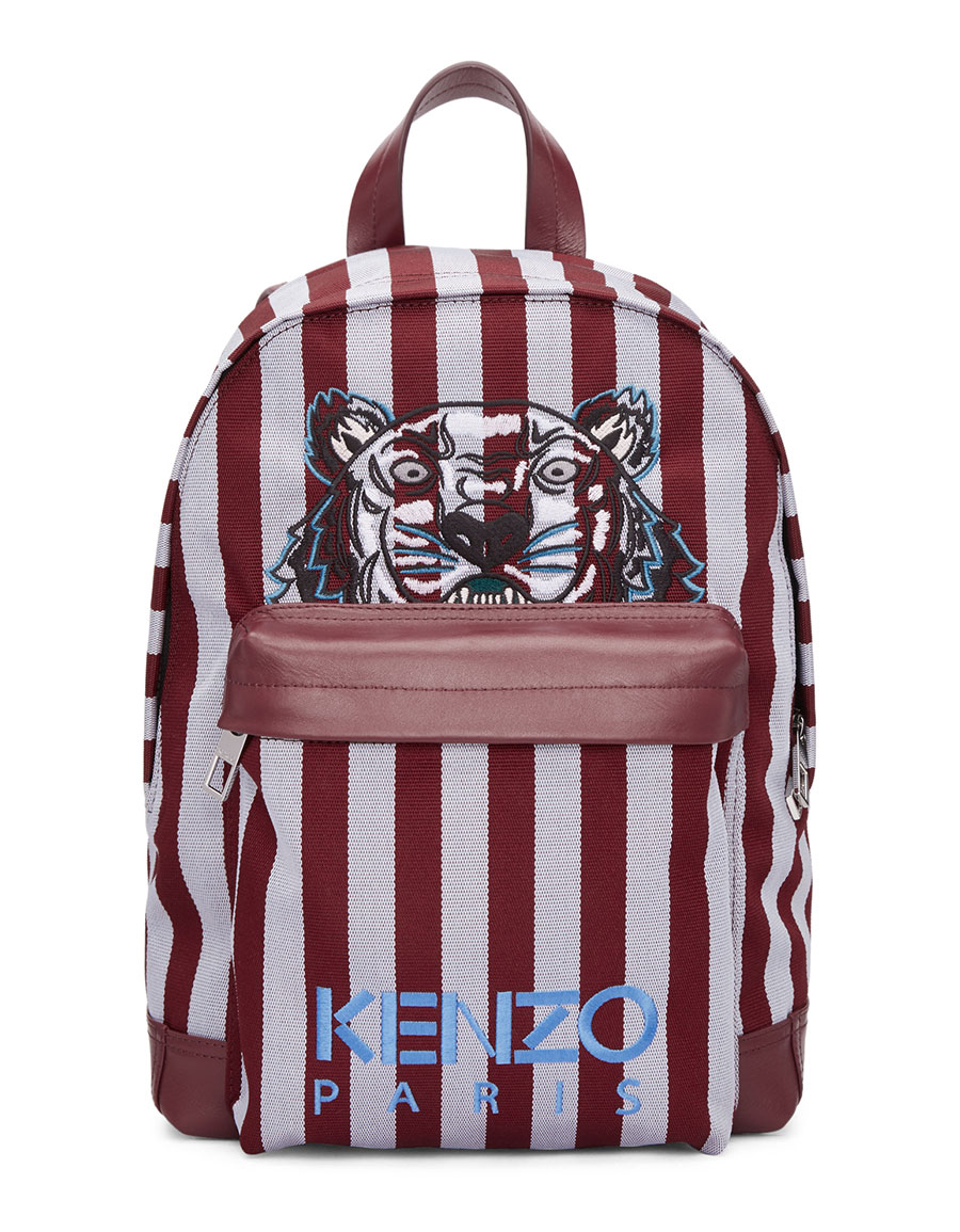 KENZO Burgundy & Blue Small Striped Tiger Backpack