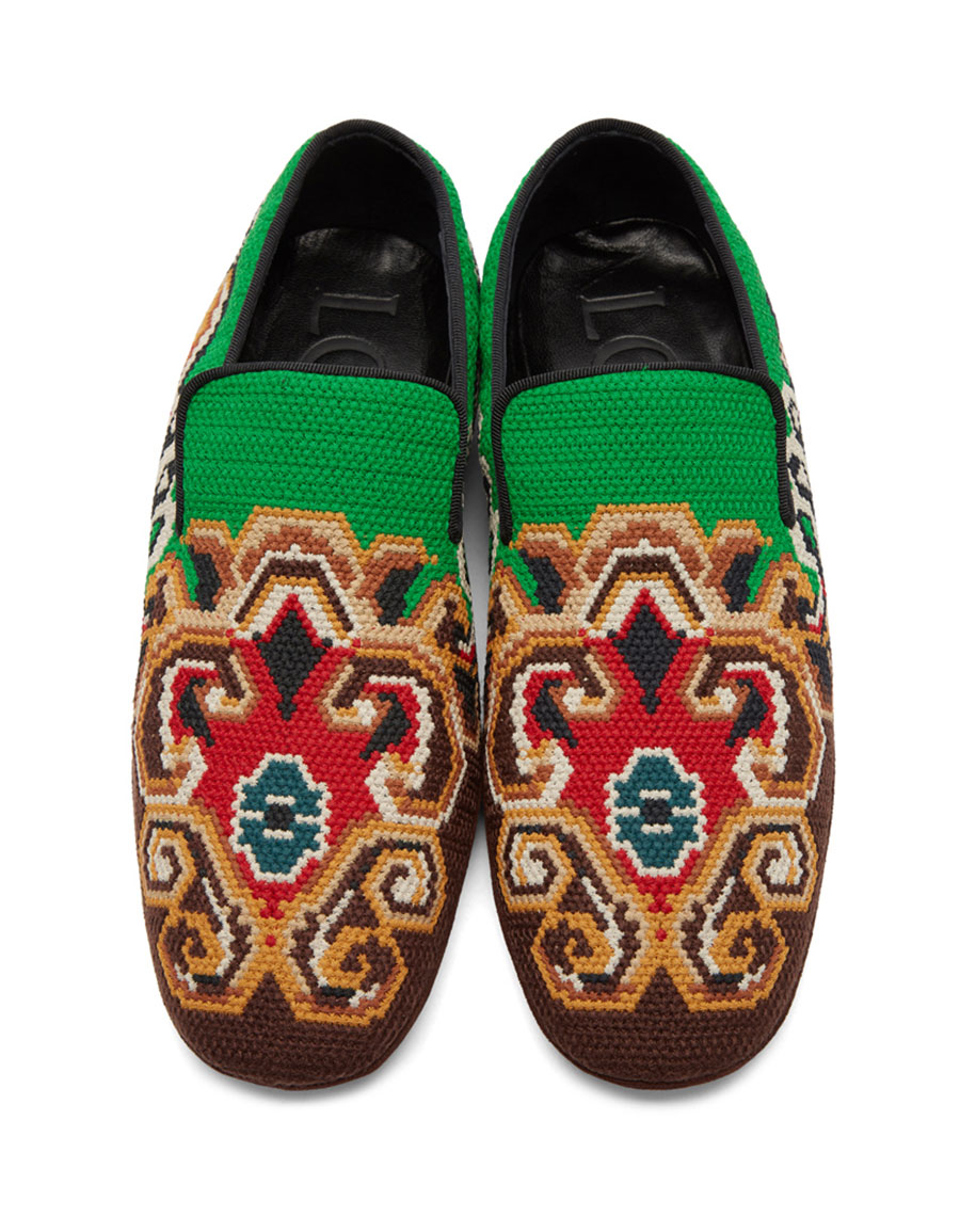 LOEWE Brown & Green Embroidered Slip On Loafers