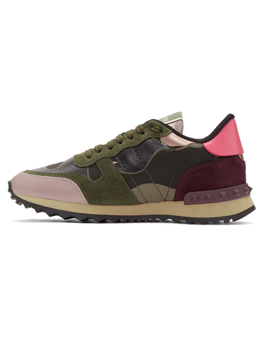 VALENTINO Green Valentino Garavani Camo Rockrunner Sneakers