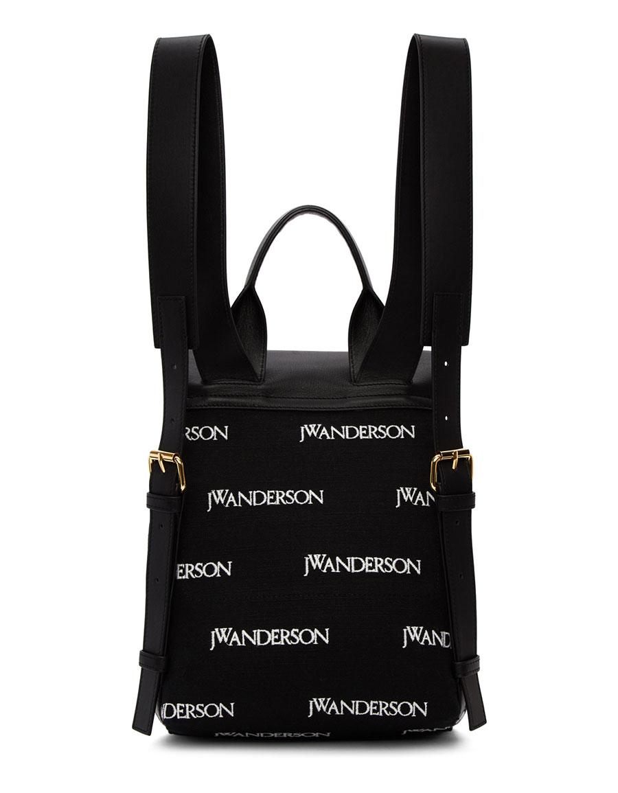 JW ANDERSON Black Mini Pierce Logo Backpack