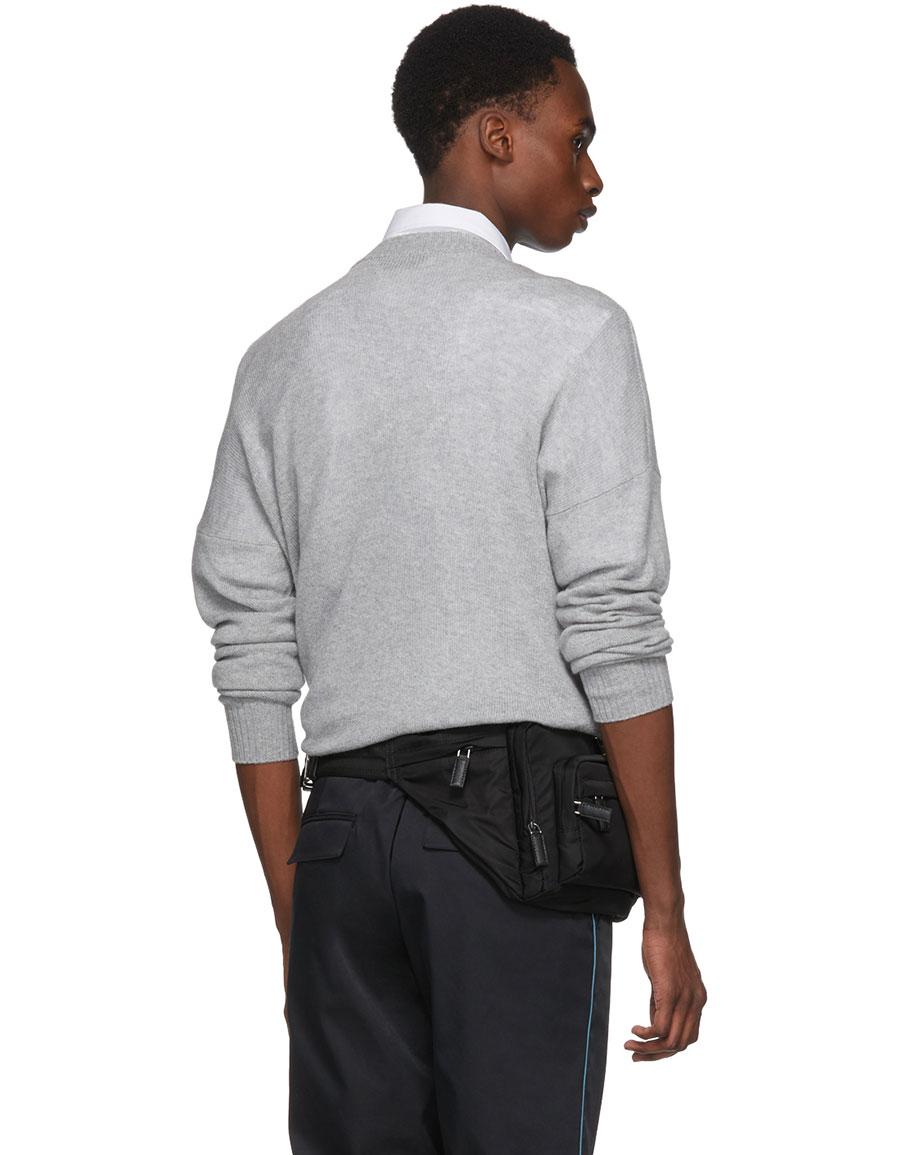 PRADA Grey Printed Cashmere Sweater