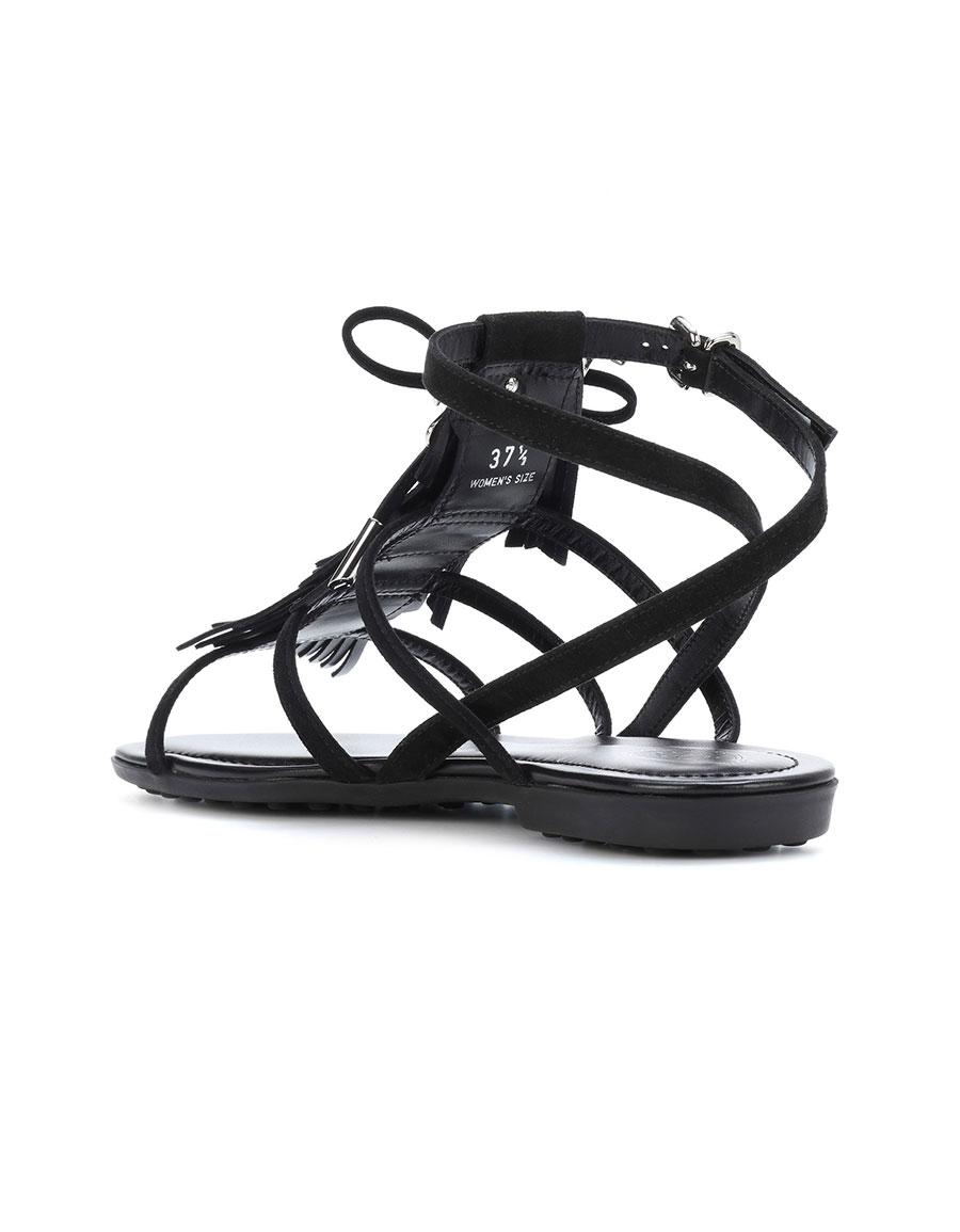 TOD'S Suede fringe logo sandals