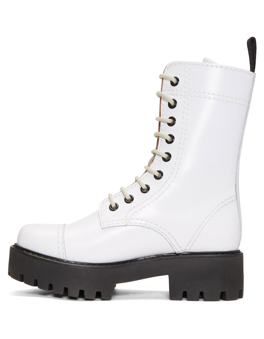ALEXACHUNG White Lace Up Boots