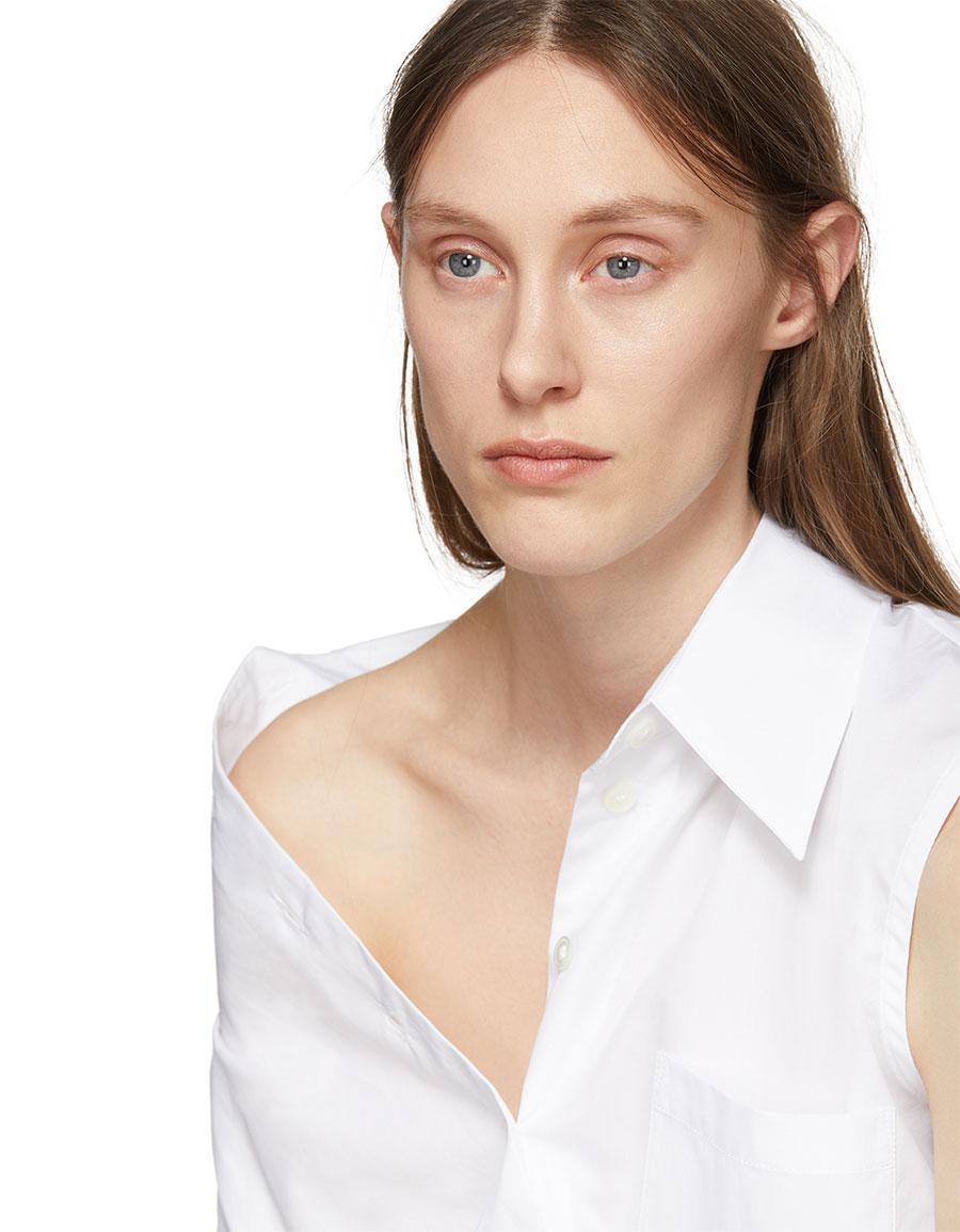 ANN DEMEULEMEESTER White Asymmetric Byron Shirt