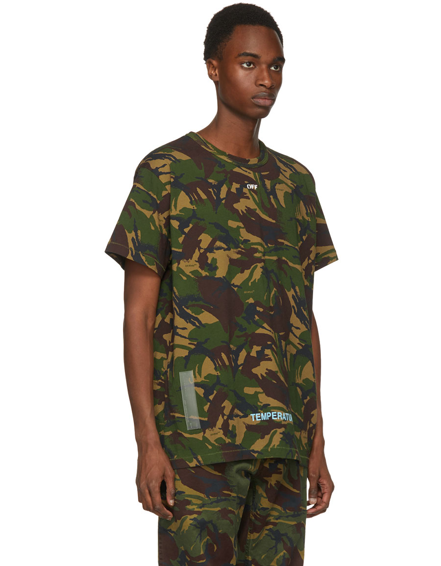 OFF WHITE Green Camouflage Arrows T Shirt