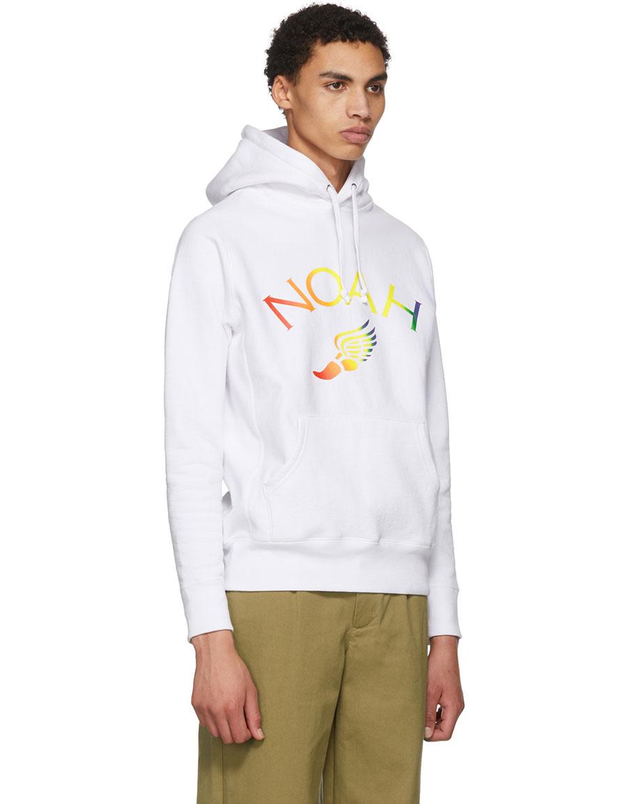 NOAH NYC White Winged Foot Logo Hoodie