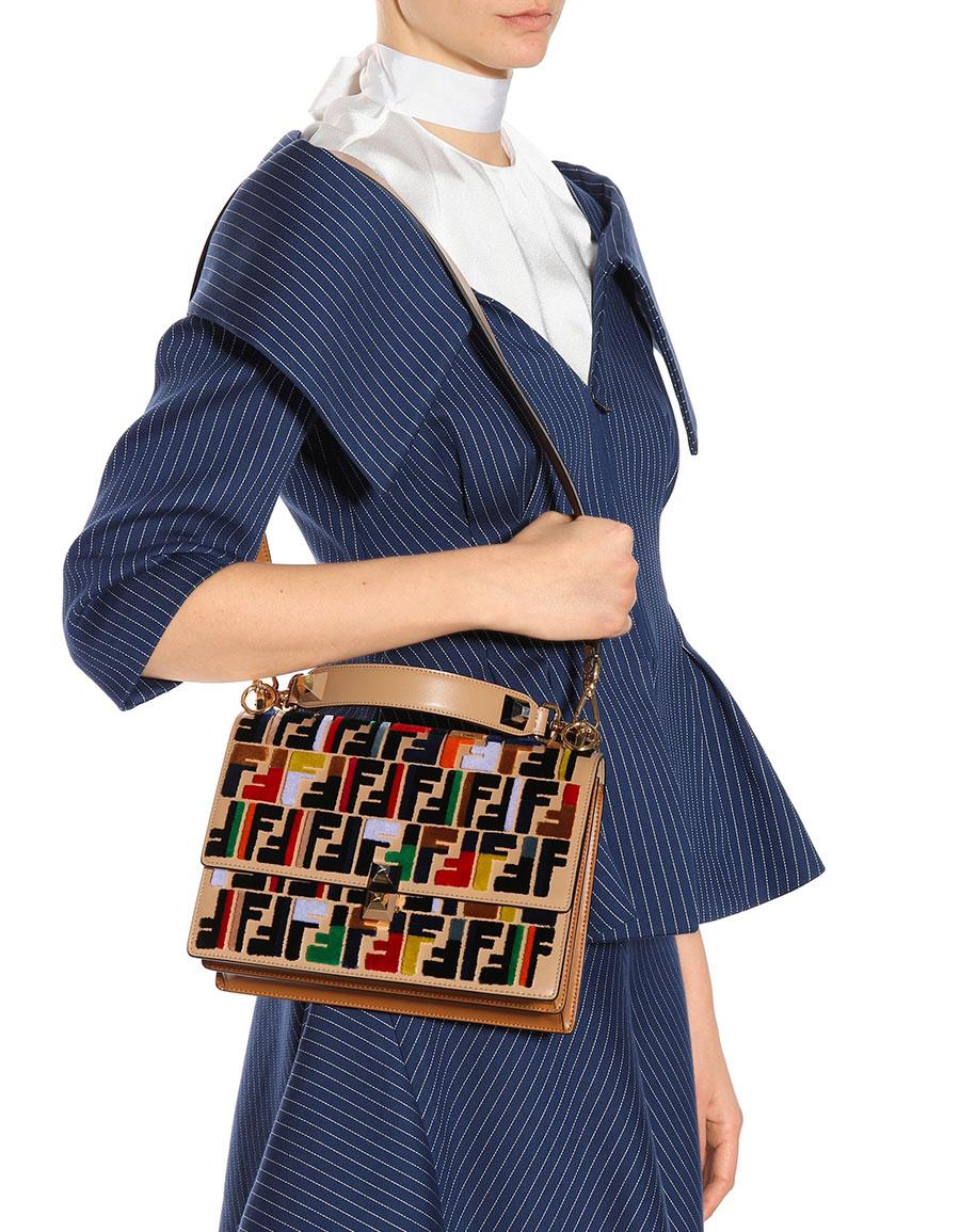 FENDI Kan I leather shoulder bag