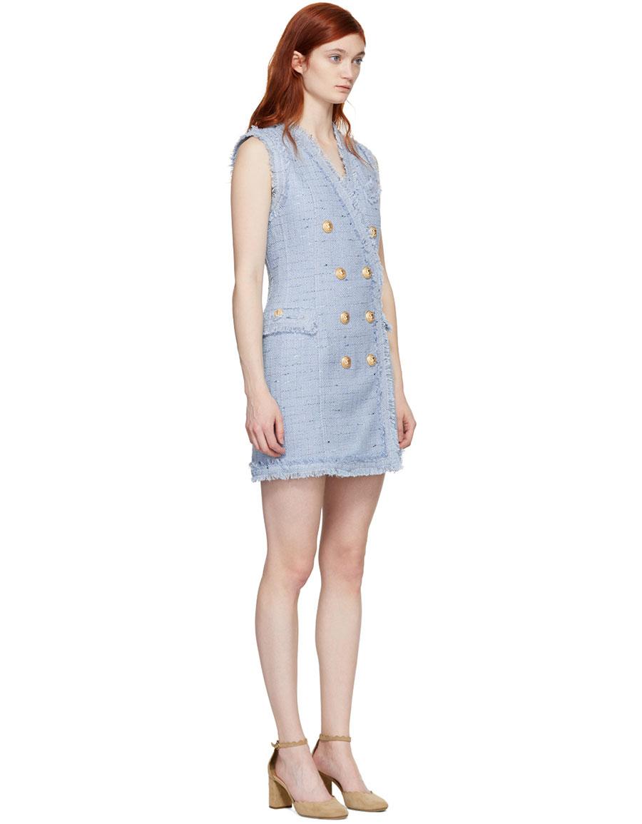 BALMAIN Blue Tweed Double Breasted Dress