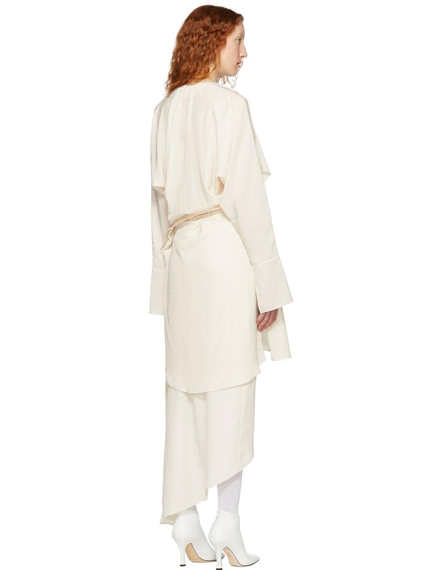 A.W.A.K.E. Ivory Draped Dress