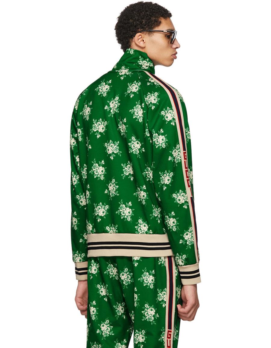 7fd22188 GUCCI Green Floral Logo Track Jacket · VERGLE