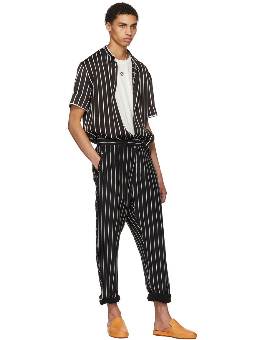 HAIDER ACKERMANN Black & White Silk Anatase Classic Trousers