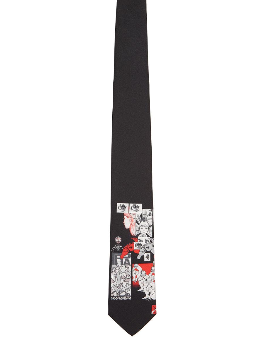 PRADA Black DNA Logo Tie