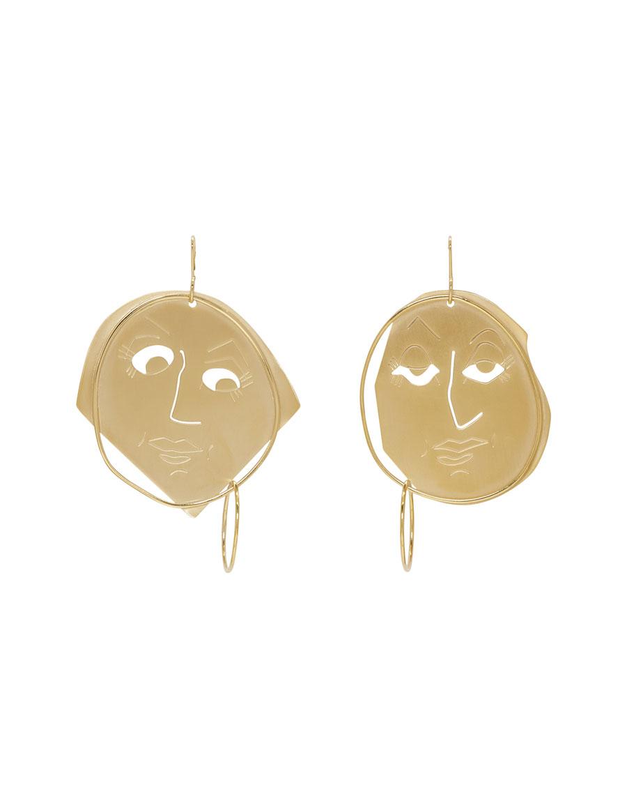 JW ANDERSON Gold Moonface Drop Earrings