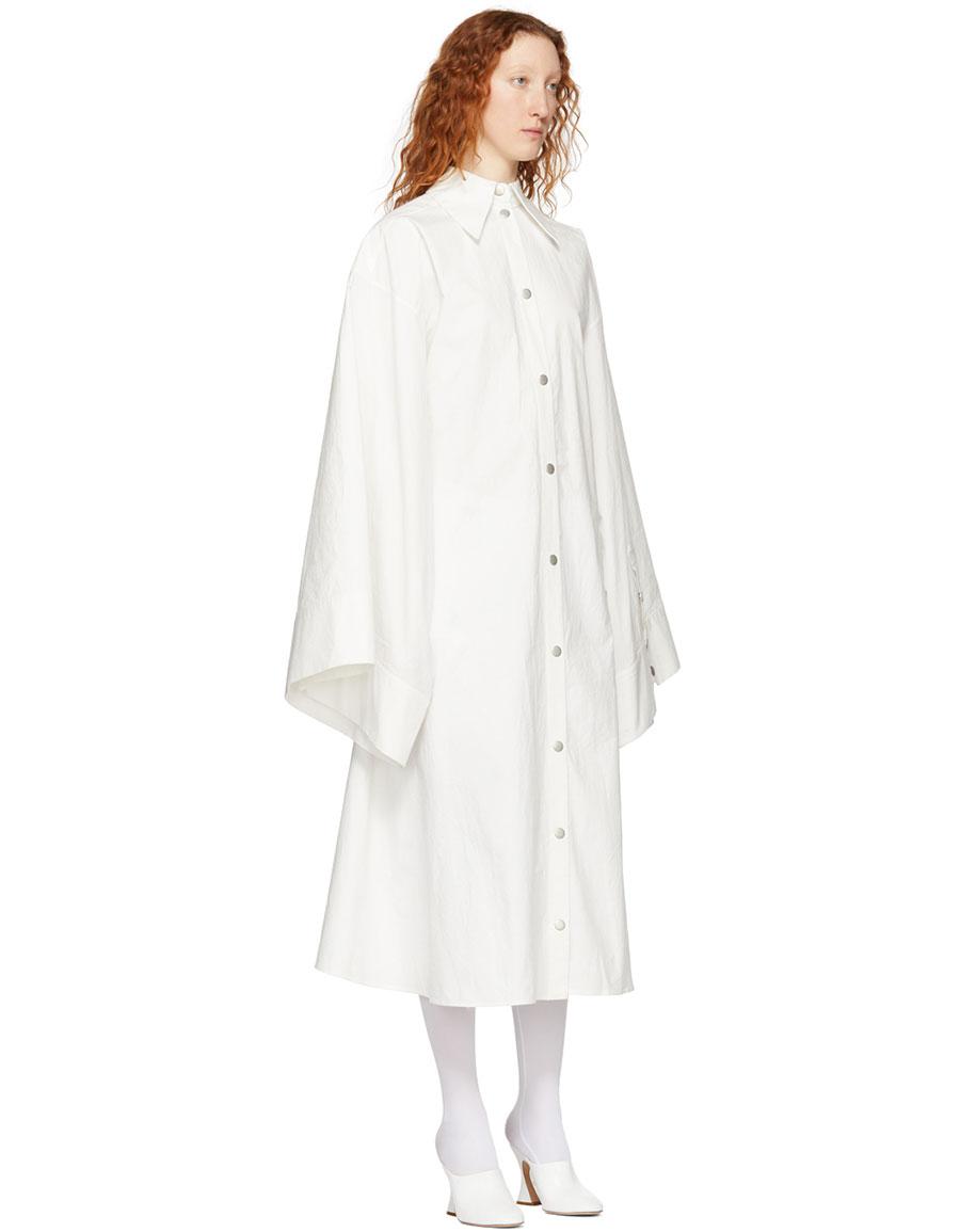 A.W.A.K.E. White Obi Belt Shirt Dress