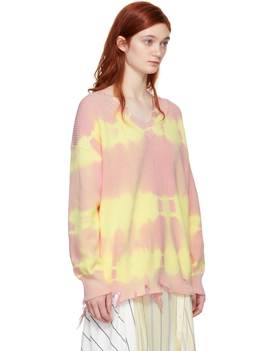 MSGM Pink Tie Dye V Neck Sweater
