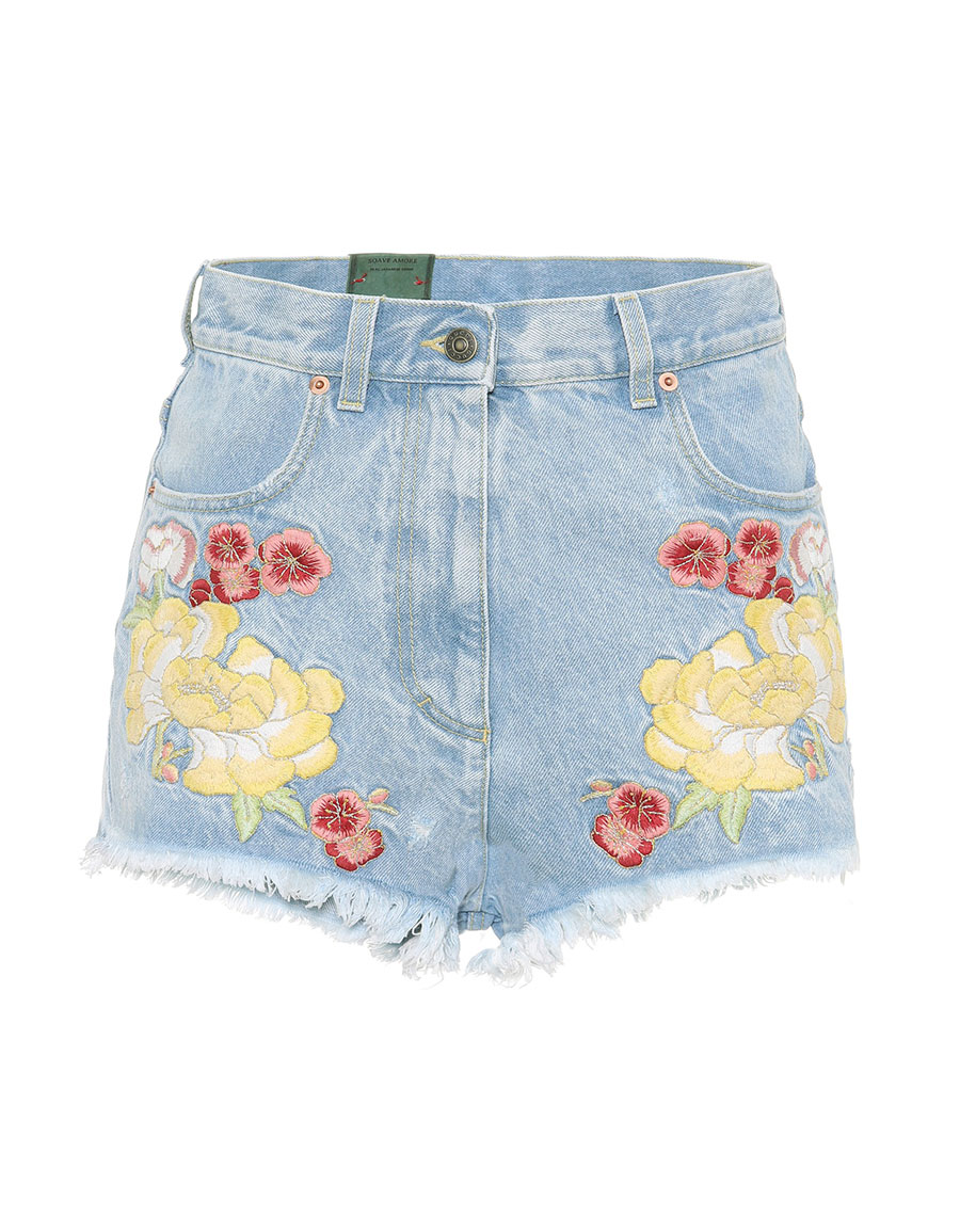 GUCCI Embroidered denim shorts