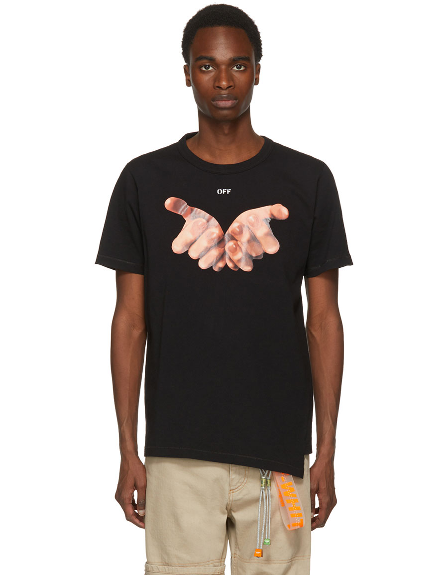 OFF WHITE Black Square Hands T Shirt