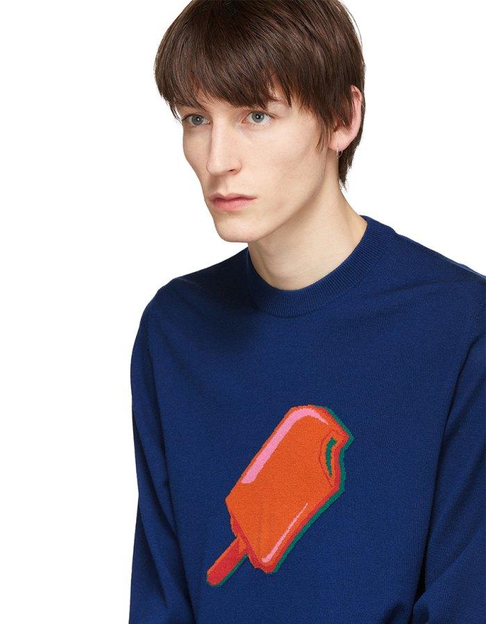 PAUL SMITH Navy Merino Popsicle Sweater