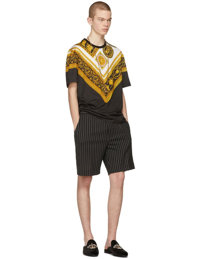 VERSACE Black Brocade T Shirt