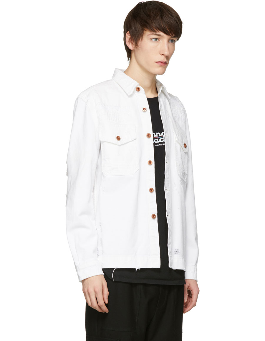 DIESEL White Distressed D Elov Denim Jacket