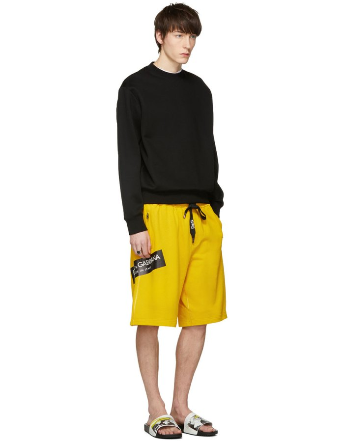 DOLCE & GABBANA Yellow Logo Sweat Shorts