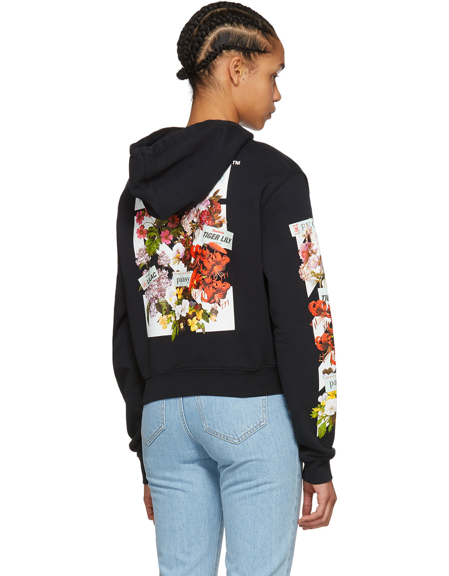 OFF WHITE Black Flower Shop Crop Hoodie