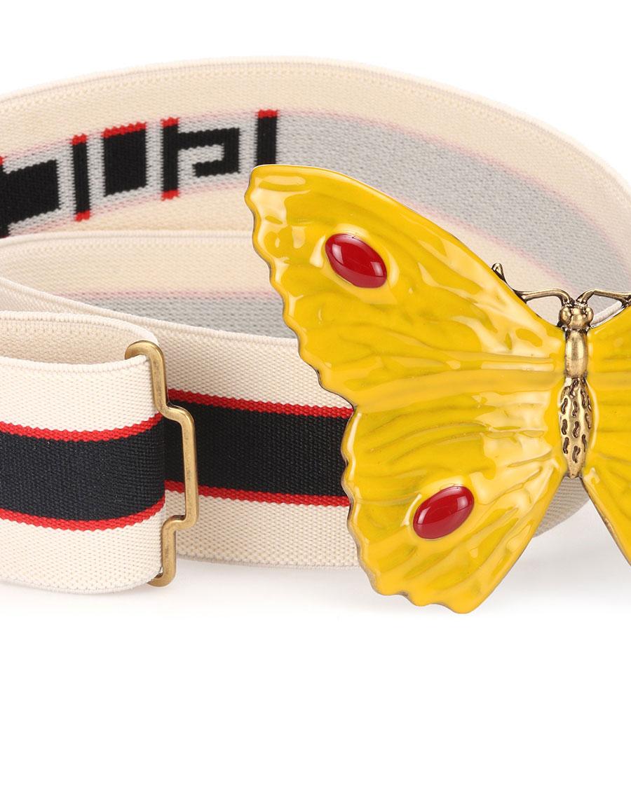 GUCCI Butterfly striped belt