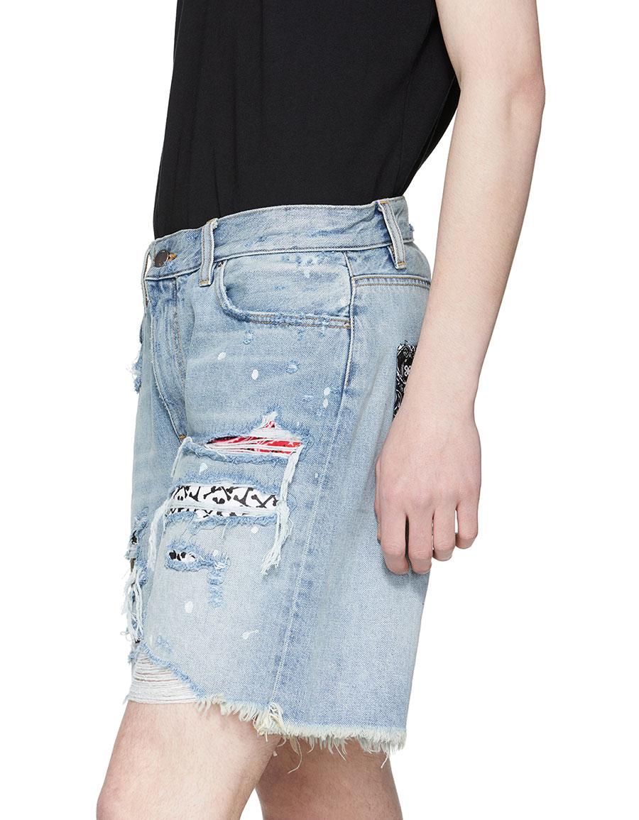 AMIRI Indigo Art Patch Denim Shorts