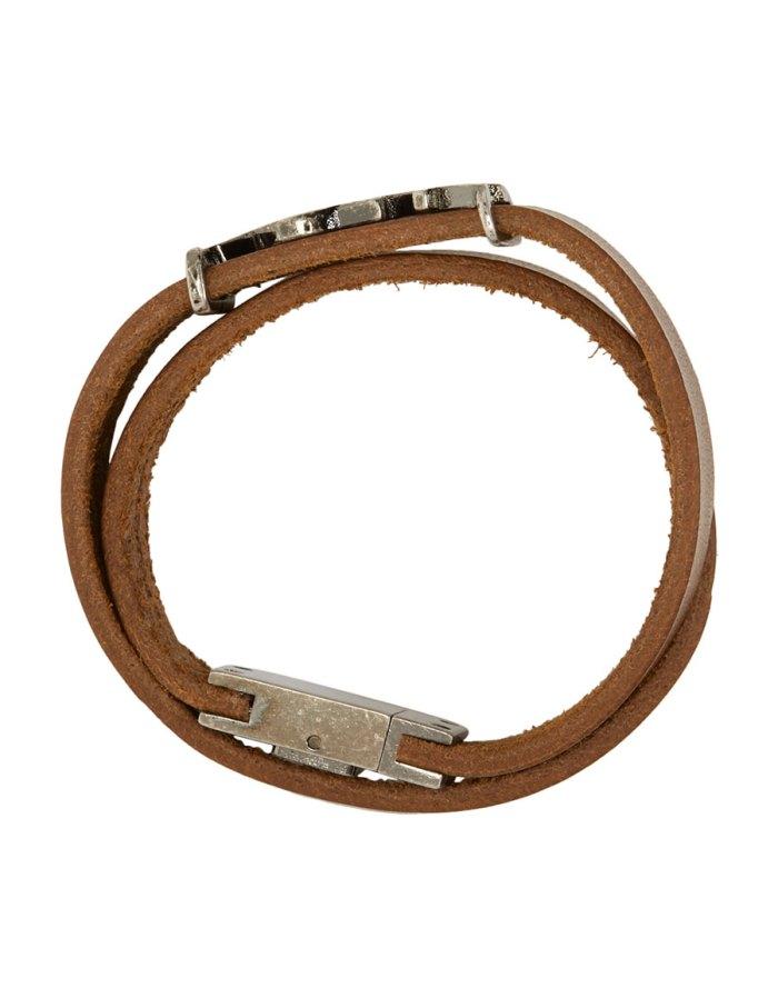SAINT LAURENT Brown Leather Logo Wrap Bracelet