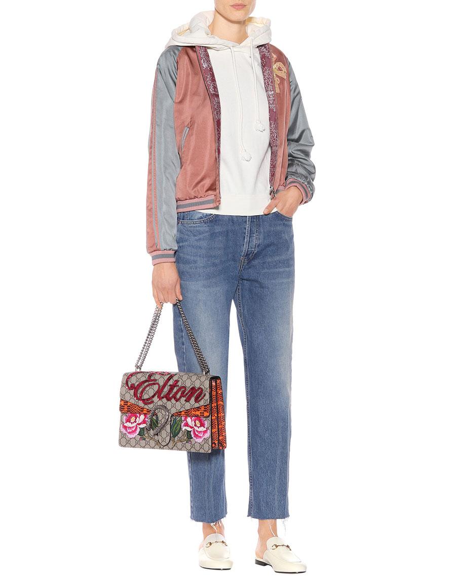 GUCCI Embellished satin bomber jacket